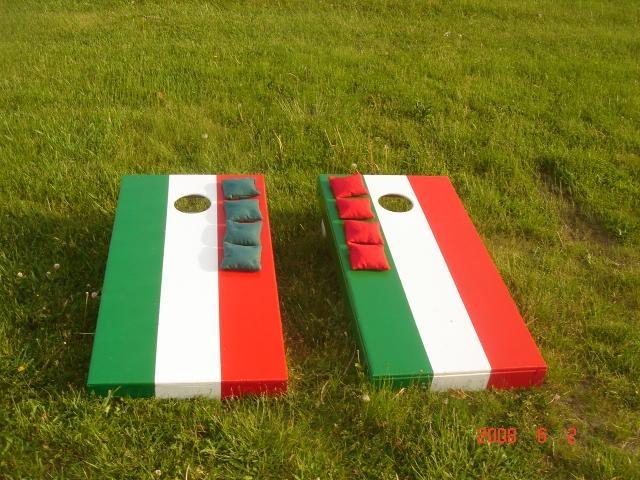 custom painted corn hole game italian flag 2 boards 8 bags - Custom Corn Hole Boards